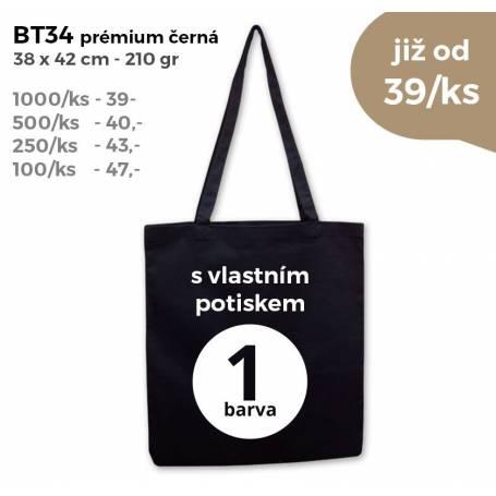 Bavlněná prémiová taška černá BT34 - 210g - 38x42cm s vlastním potiskem