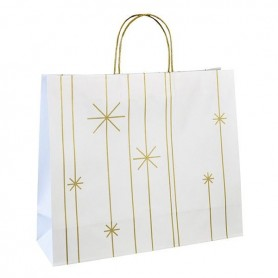 Vánoční taška bílá Star PTVT16 - 45x14x38 cm