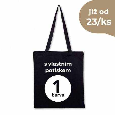 Bavlněná taška černá s vlastním potiskem BT01 - 135G - 38X42 cm