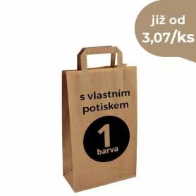 Papírová taška hnědá vlastním potiskem Topcraft PT02 - 22x10x36 cm