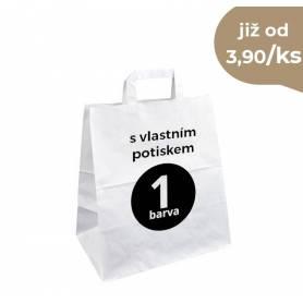 Papírová taška bílá Takeaway s vlastním potiskem PT23 - 26x16x30 cm