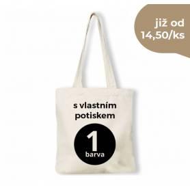 Bavlněná taška natural s vlastním potiskem v černé barvě BT00 - 140g - 38x42 cm