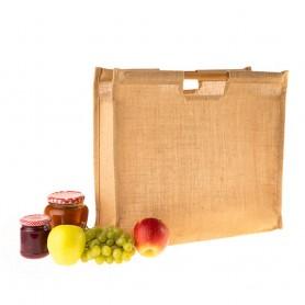Jutová taška JT21 - rovná bambusová ucha - 45x40x17 cm