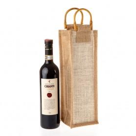 Jutová taška na víno natural JT20 - 11 x 35 x 11 cm