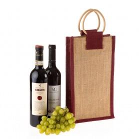 Jutová taška na víno JT24 - na dvě láhve s vínovým lemováním - 40x20x13 cm