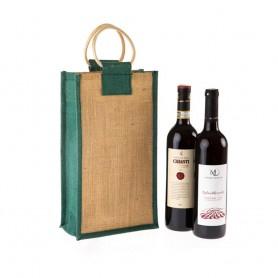 Jutová taška na víno JT25 - na dvě láhve se zeleným lemováním - 40x20x13 cm