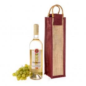 Jutová taška na víno natural JT26  s vínovým lemováním - 11 x 35 x 11 cm
