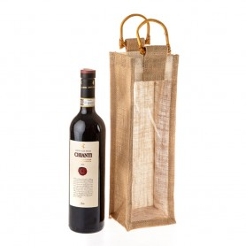Jutová taška na víno natural JT27  s průhledem - 11 x 35 x 11 cm