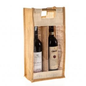 Jutová taška na víno JT29 - na dvě láhve s průhledem - 40x20x13 cm